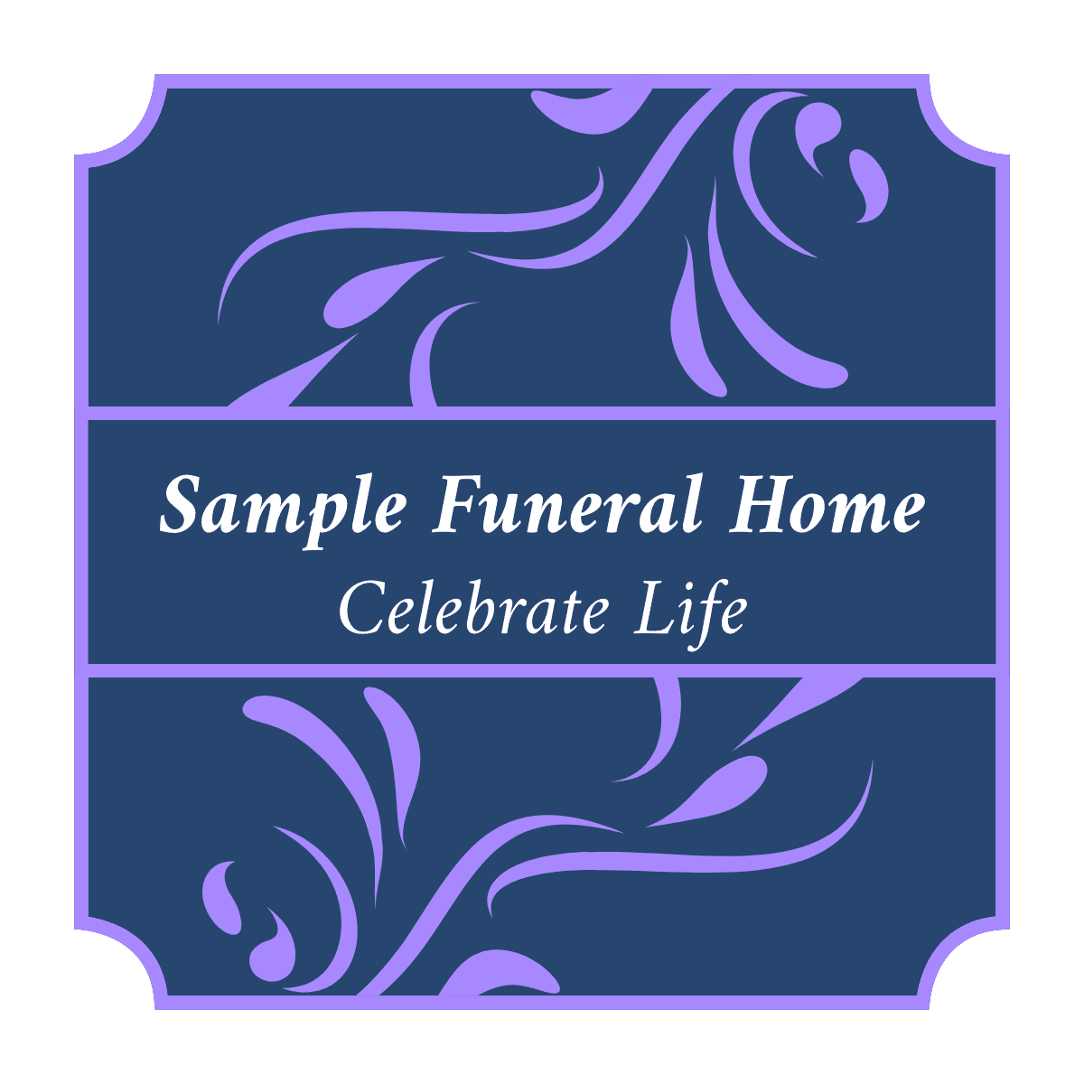 Generic funeral home logo. The name of the funeral home in the center with the phase, Celebrate Life, in the middle. Several classical embelishments surround the words.