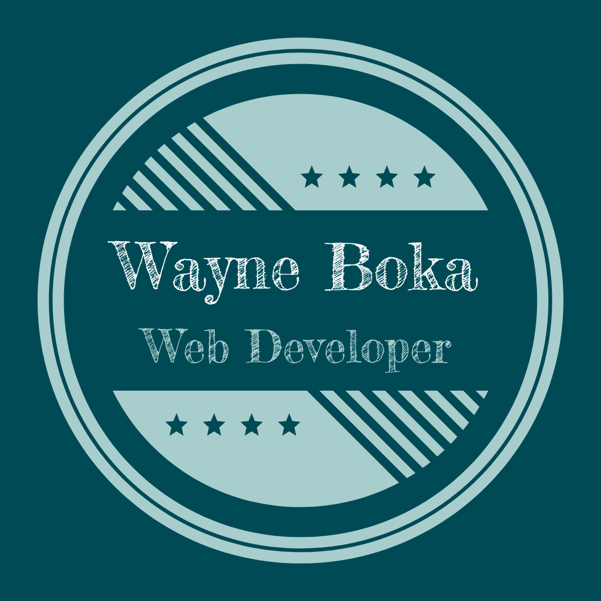 A circle with the words, Wayne Boka, Web Developer inside