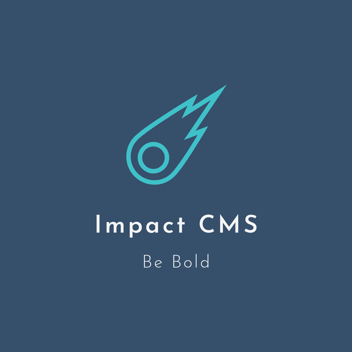 Impact CMS logo, meteor heading in a downward direction quickly